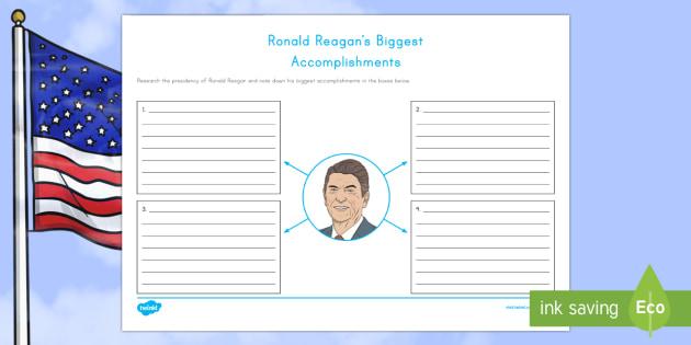 Ronald Reagan's Biggest Accomplishments Writing Activity Sheet - American Presidents, American History, Social Studies, Barack Obama, Lyndon B. Johnson, Franklin D.