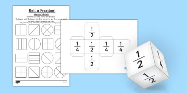 Year 1 Roll a Fraction Activity Sheet Polish Translation - polish, activities, fractions, worksheet