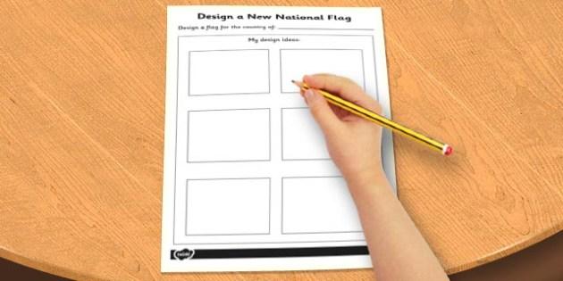Design a New National Flag Activity Sheet - design, flag, sheet, worksheet