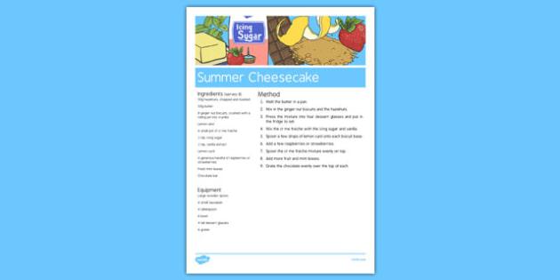 Elderly Care Summer Cheesecake Recipe - Elderly, Reminiscence, Care Homes, Summer