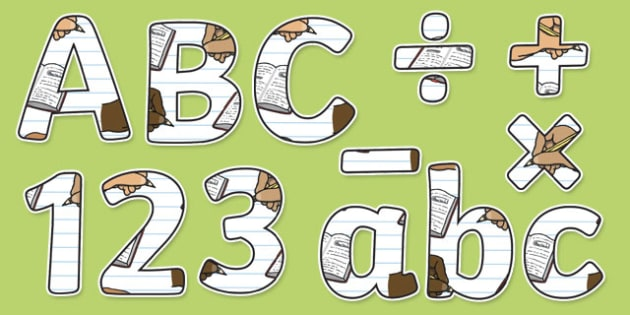 Handwriting Themed Display Letters and Numbers Pack - English lettering, English display, English display lettering, handwriting