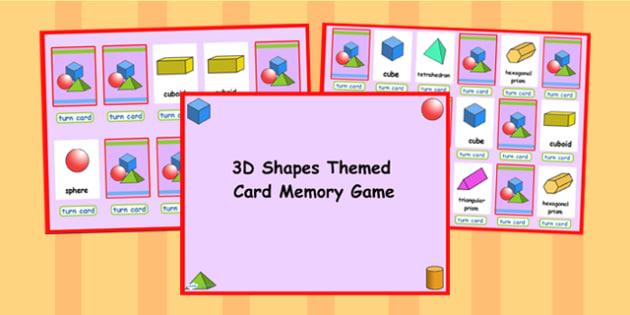 3D Shape Matching Cards Activity PowerPoint - 3D, 3D shape, shape