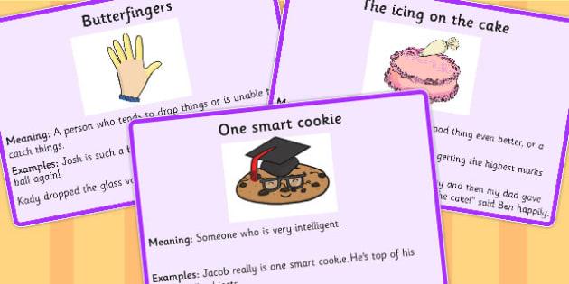 Food Idioms Meaning Cards - food, idioms, meaning, cards, sen