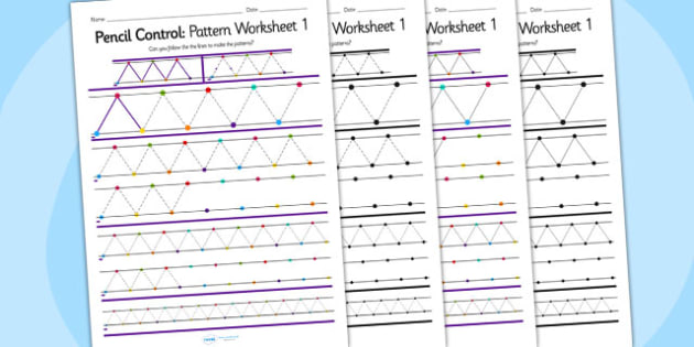Pencil Control Pattern Worksheet 1 - pencil, control, patterns