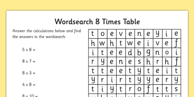 Multiplication 8 Times Tables Word Search Worksheet – 8 Times Table Worksheet