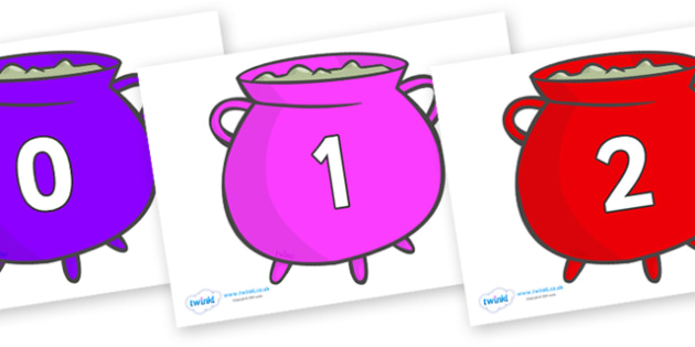 Numbers 0-31 on Cauldrons (Multicolour) - 0-31, foundation stage numeracy, Number recognition, Number flashcards, counting, number frieze, Display numbers, number posters