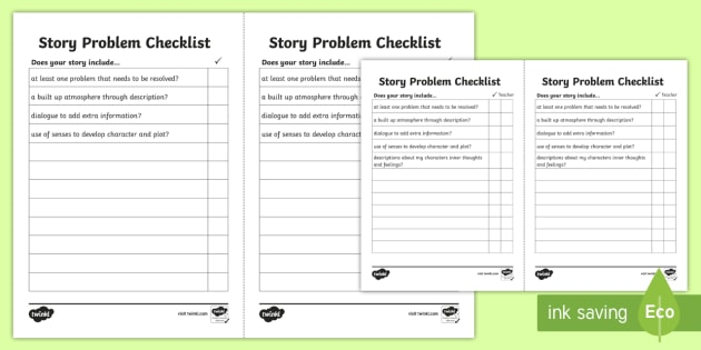 Story Problem Checklist - story checklist, story writing checklist, writing problems in stories, story problems, story writing, creative writing, ks2