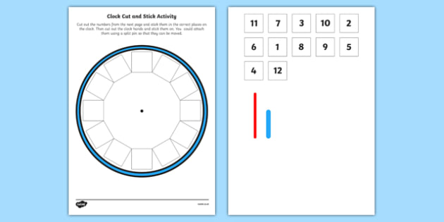Blank Clock Cut Out Cut and Stick Activity - blank, clock, cut out, cut and stick, activity