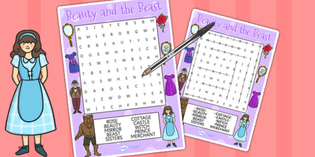 Beauty and the Beast Wordsearch - word games, word search, games