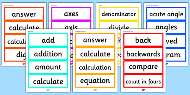 Year 3 2014 Curriculum Maths Vocabulary Cards Resource Pack