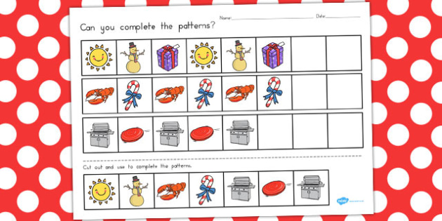 Christmas Complete the Pattern Worksheet - australia, christmas