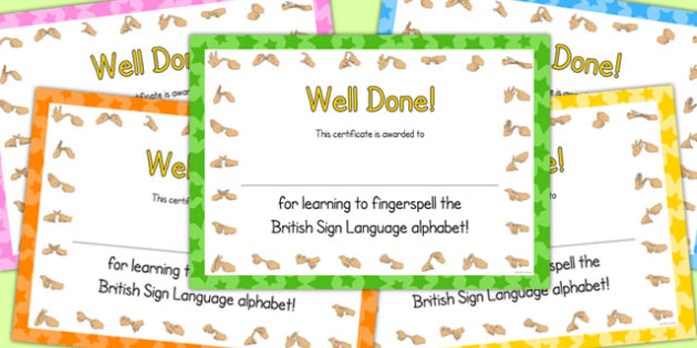 Fingerspell British Sign Language Left Hand Alphabet Certificates