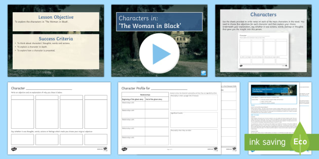 Characters Lesson Pack to Support Teaching on The Woman in Black - The Woman in Black, characters, Jennet Humfrye, Keckwick, Arthur Kipps, Spider, Mr Jerome, Sam Daily