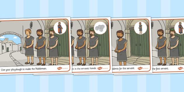The Talents Playdough Mats - parables, talents, playdough, mats