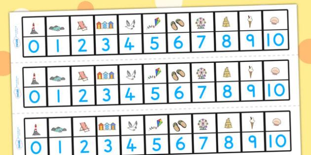 Seaside Number Track 0-10 - number track, seaside, numeracy, aid