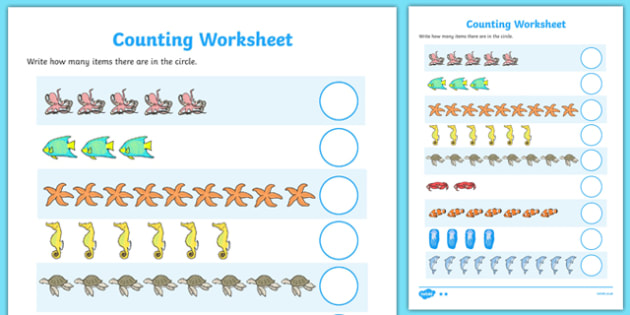 My Counting Worksheet (Sea Creatures) - Under the Sea - education, home, free