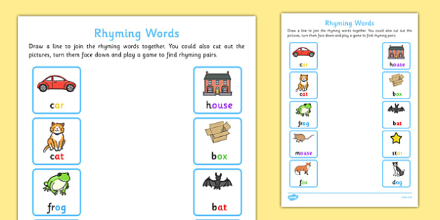 Rhyming Words Home Learning Activity Sheet - EYFS, Early Years, phonics, Letters and Sounds, Phase 1, Aspect 4, rhyming words, nursery, reception, worksheet