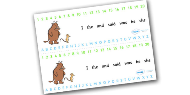 The Gruffalo Alphabet and Number Strips Combined - the gruffalo, alphabet, number, alphabet strips, number strips, a-z, a-z strips, number line