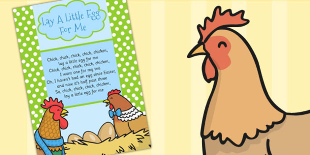 Lay A Little Egg For Me Lyrics Sheet - Lay, Egg, Song, Chicken