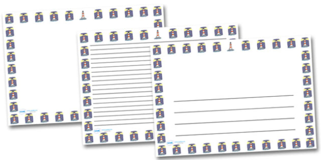 Lighthouse Landscape Page Borders- Landscape Page Borders - Page border, border, writing template, writing aid, writing frame, a4 border, template, templates, landscape