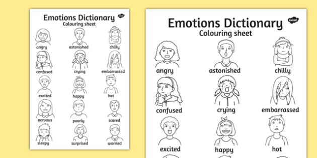 Emotions Dictionary Colouring Sheet - emotions, colouring, sheet