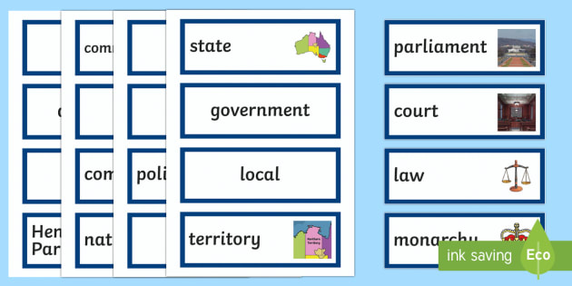 Australia's System of Law & Government  Word Wall