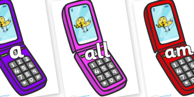 Foundation Stage 2 Keywords on Mobile Phone - FS2, CLL, keywords, Communication language and literacy,  Display, Key words, high frequency words, foundation stage literacy, DfES Letters and Sounds, Letters and Sounds, spelling