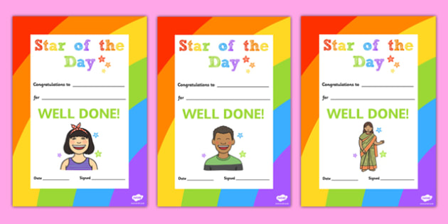 Star of the Day Decorative Certificate - certificate, star, day