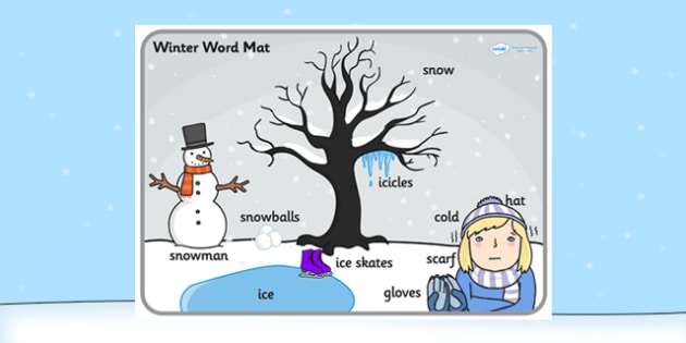 Winter Scene Word Mat - winter, vocabulary mat, word mat, key words, topic words, word poster, vocabulary poster, scene words, literacy, scene, seasons