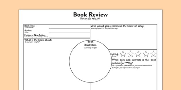 Book Review Worksheet Polish Translation - polish, book review, book review sheet, writing a book review, book review template, book review writing frame, ks2 literacy, reading