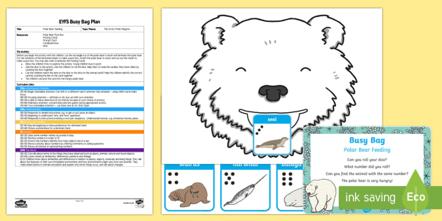 EYFS Polar Bear Feeding Posting Busy Bag Plan and Resource Pack - Polar Regions, arctic, antarctic, polar animal, arctic animals, dice, counting, number recognition
