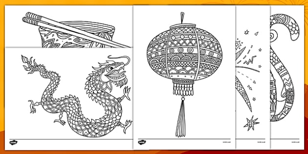 Chinese New Year Mindfulness Colouring Sheets - chinese new year, mindfulness, colouring, colour, stress relief