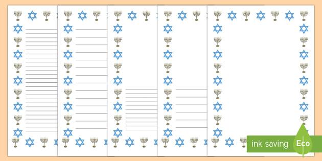 Hanukkah Themed Page Border Pack - Hanukkah, Jew, Judaism, celebration, light, festival, menorah, writing frames