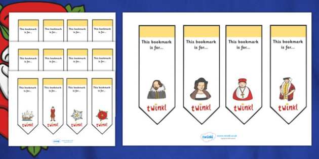 Editable Bookmarks (Tudors) - Tudors, Bookmark, bookmark template, gift,  present, book, reward, achievement, England, history, Tudor Age, Henry VIII