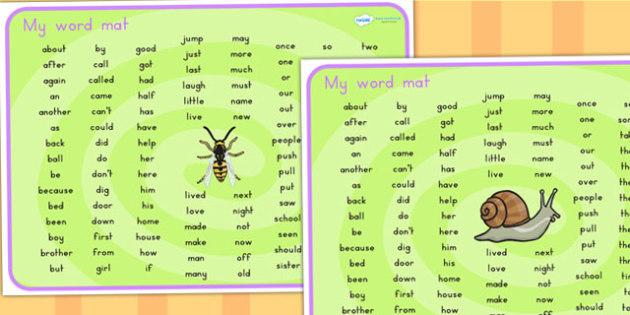 Minibeasts Themed Word Mat KS1 - visual aid, keywords, key words