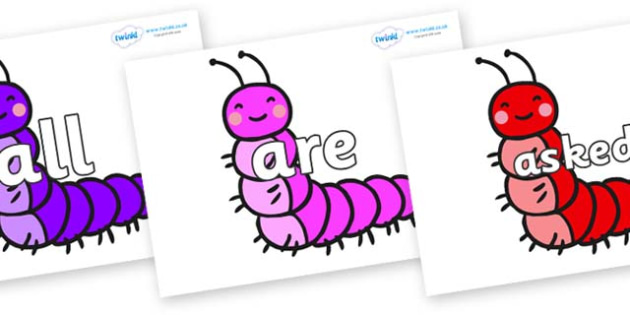 Tricky Words on Caterpillars - Tricky words, DfES Letters and Sounds, Letters and sounds, display, words