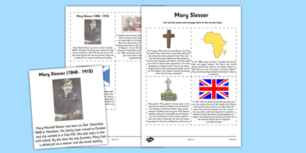 Scottish Significant Individuals Mary Slessor Sequencing Worksheet - Scottish significant individual, Christian, missionary, Nigeria