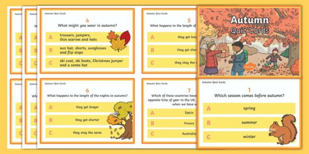 Autumn Quiz Cards