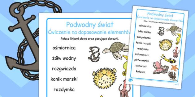 Cwiczenie na dopasowanie Swiat podwodny po polsku - szkola , Polish