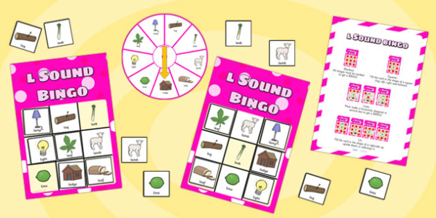 l Sound Bingo Game with Spinner - I, I sound, sounds, bingo, game
