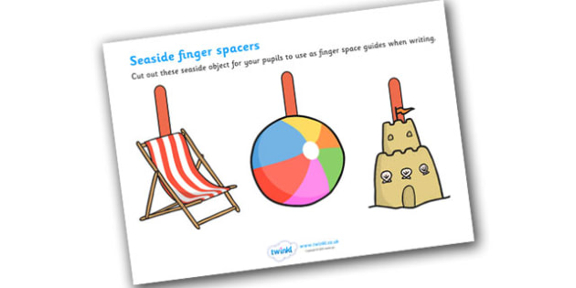 Seaside Themed Finger Spacers - seaside, seaside finger spacers, beach, beach finger spacers, seaside literacy, seaside writing aid, seaside writing