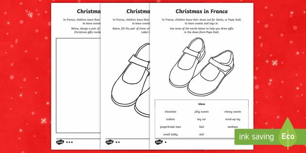 KS1 Christmas in France Differentiated Activity Sheets - Christmas, Nativity, Jesus, xmas, Xmas, Father Christmas, Santa, St Nic, Saint Nicholas, traditions,