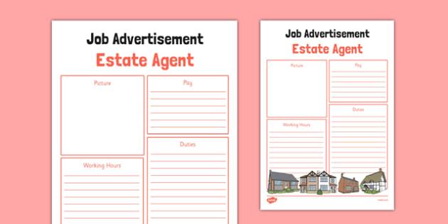 Estate Agent Job Advertisement - estate agent, job advertisement, job, advert, role play, role-play