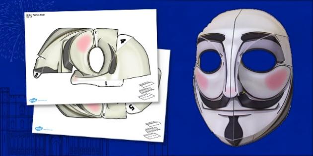 3D Guy Fawkes Mask - guy, fawkes, mask, face, bonfire, 3D, costume, dress, fireworks, 5th, november, roleplay