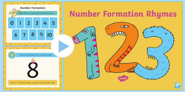 Number Formation Rhyme PowerPoint, overwriting