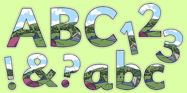 Camping Tent Themed Display Lettering - camping tent, display lettering, display, lettering