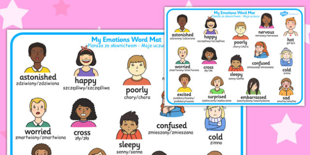 My Emotions Word Mat Polish Translation - polish, my emotions, word mat