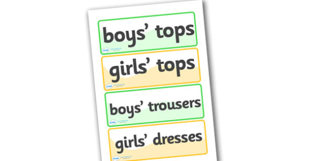 Spare Clothes Drawer Labels - drawer labels, labels, signs, spare clothes, clothes, boy's tops, girl's tops, boy's trousers, girl's trousers