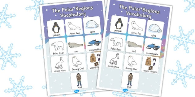 Polar Regions Vocabulary Poster - polar, vocabulary, poster