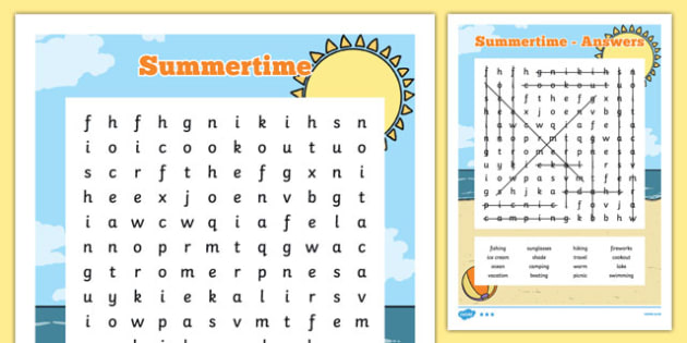 Summertime Word Search - usa, america, summer, word search, activity, summertime